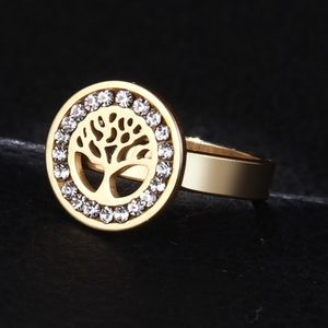 Jewelry - SOON Gold Tree of Life Caged Crystal Circle Ring